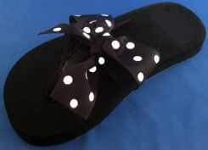 Luxurious Black with White Polka Dot Flip Flop.
