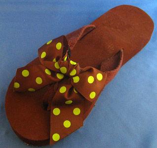 Earthy Brown With Cactus green Polka dot flip flops.