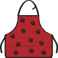 Red and Black Paw print Apron.