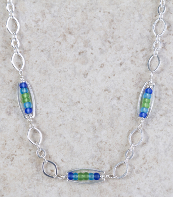 Sea Glass Beads & Silver Linked Necklace