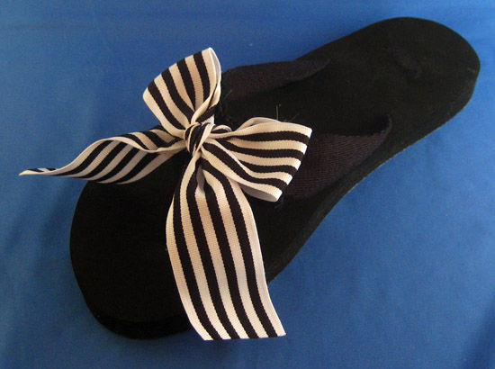 Black and White Stripe Resort Vacation Flip Flop.