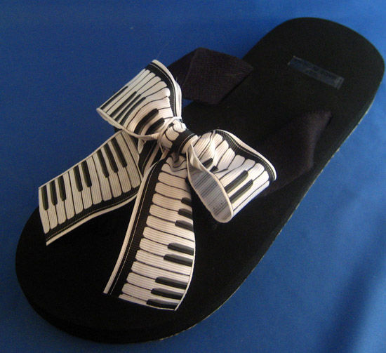 Piano Player Relaxation Flip Flops.