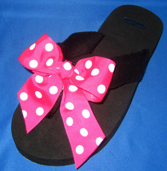 Pink with White Polka dots child's flip flop.