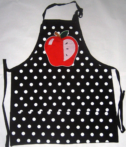 Black & White Canvas Apron w/ Apple Applique.