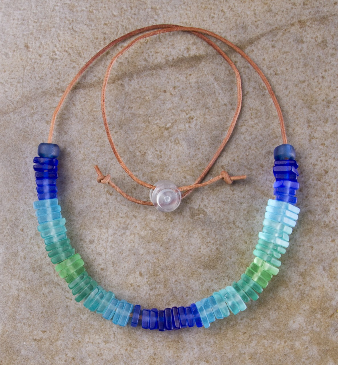 Blue Green Turquoise Sea Glass Necklace