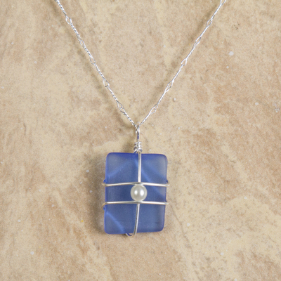 Blue Sea Glass with Pearl Tied in Silver Necklace