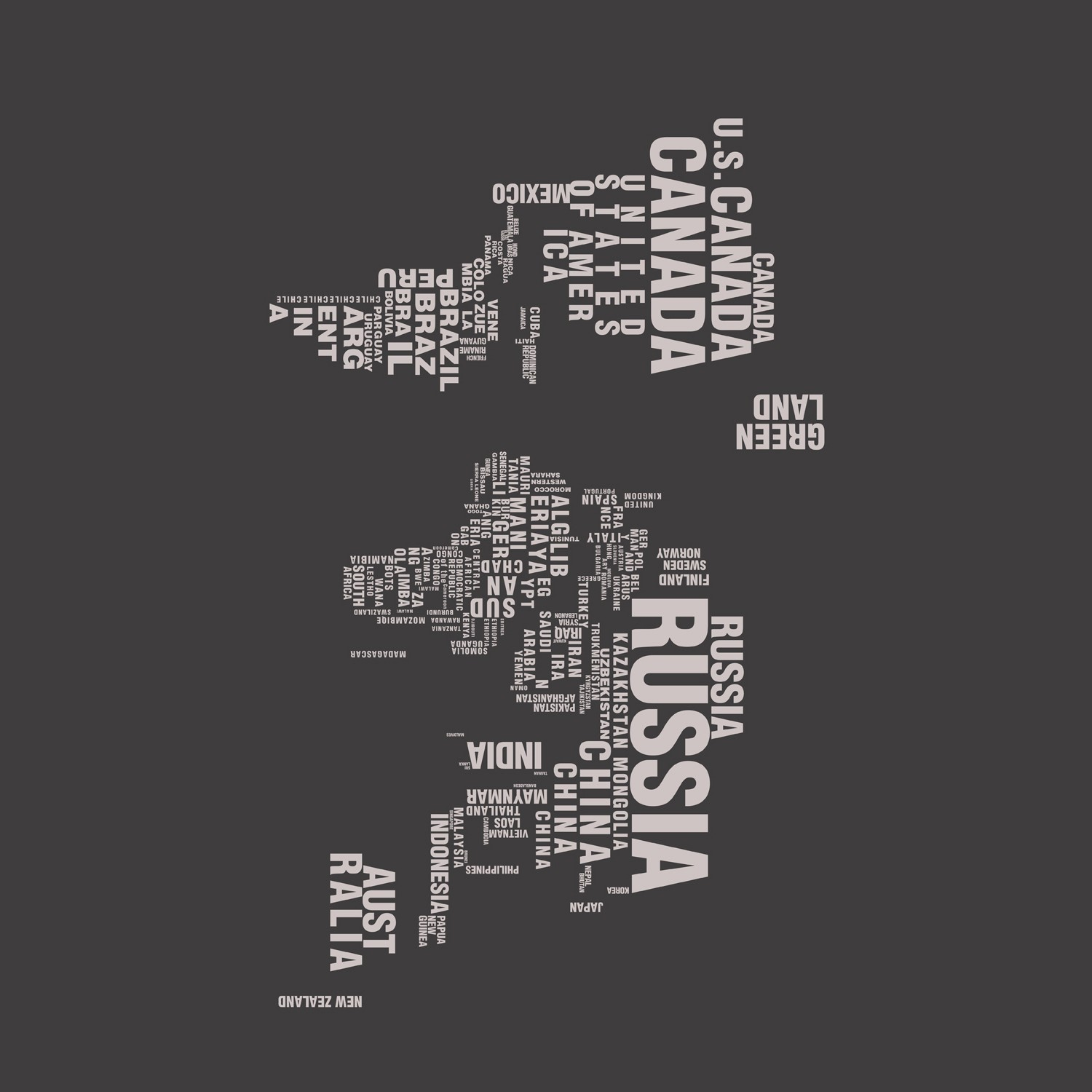 Typography World Map