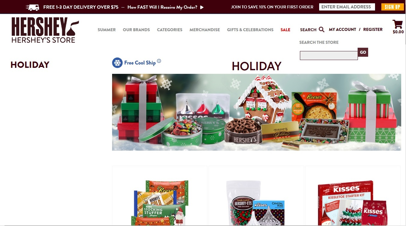 Hershey's Chocolate website screenshot