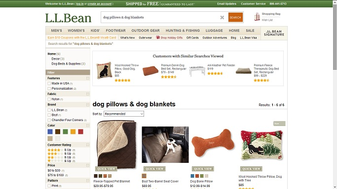 LL Bean has beautiful high quality dog pillows & dog blankets