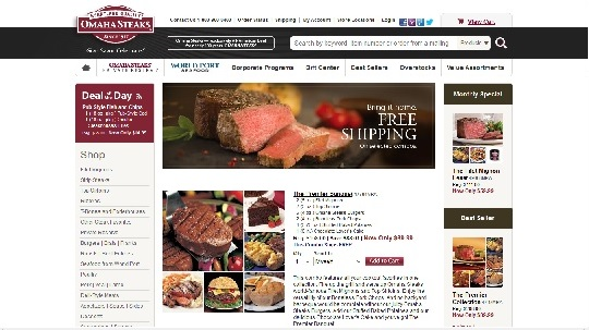 Omaha steaks shopping screenshot