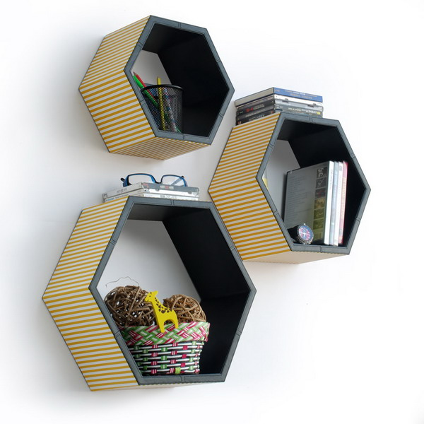 Hexagon Shape Wall Shelves.