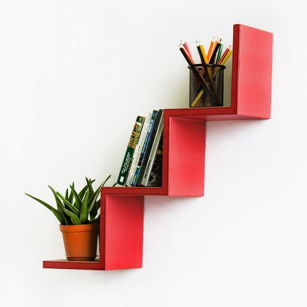 Red Step Wall Shelf